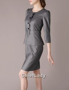 Spring Fashion Outfits Faux Two-Piece Dress Elegant Office Wear Chic Dark Grey Western Peplum Dress with Sashes CF39