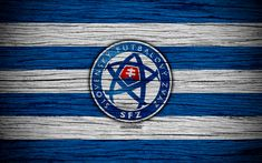 Download wallpapers 4k, Slovakia national football team, logo, UEFA, Europe, football, wooden texture, soccer, Slovakia, European national football teams, Slovak Football Federation