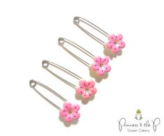 CLEARANCE Pink Cherry Blossom Diaper Pins- Baby Shower, Flower, cloth diaper, diaper cover, Diaper Cake