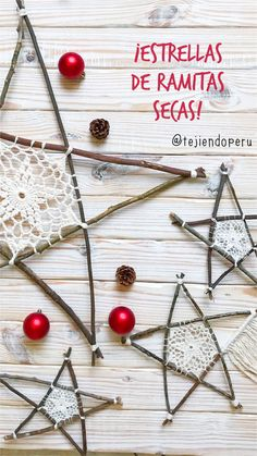 Rustic and Modern Twig Stars - learn how to make them! Christmas Star, Primitive Christmas, Christmas Baubles, All Things Christmas, Winter Christmas, Christmas Crafts, Christmas Decorations, Xmas, Crochet Snowflake Pattern