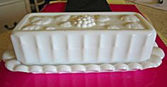 Vintage Westmoreland Glass Co. milk glass butter dish! So shabby chic! For sale at More Than McCoy on TIAS!