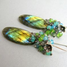Labradorite Gemstones Earrings - Labradorite and Chalcedony Wire Wrapped Cluster Sterling Silver Earrings. $94.00, via Etsy.