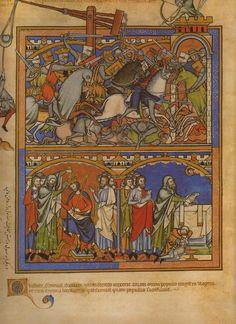 The Crusader's Bible c1250: three part miniature, Latin text