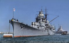 Japanese heavy cruiser Ashigara on a visit to Germany in Kiel harbour, May 1937. Pocket battleship Admiral Graf Spee is behind. Ashigara was sunk by British submarine HMS Trenchant in June 1945: Graf Spee was scuttled after the Battle of the River Plate in December 1939.