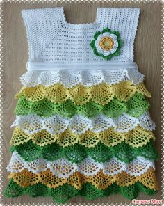 "Crochet Baby Girl Dress ""Crochet Girls Dress Made from organic materials it is delicate and protects baby skin. Crochet Baby Dress Pattern, Baby Girl Crochet, Crochet Baby Clothes, Crochet For Kids, Crochet Motifs, Knit Crochet, Crochet Patterns, Cute Summer Dresses, Baby Dresses"