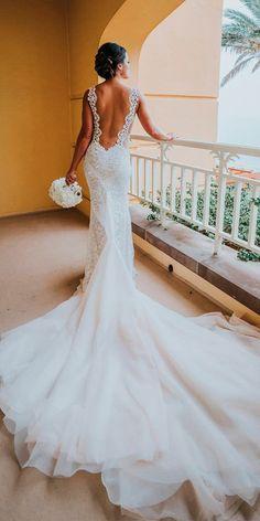 33 Absolutely Gorgeous Destination Wedding Dresses ❤ destination wedding dresses sheath lace low back sleeveless with train galia lahav ❤ See more: http://www.weddingforward.com/destination-wedding-dresses/ #weddingforward #wedding #bride