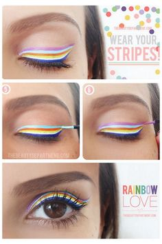 DIY Rainbow Striped Eye Makeup Tutorial from The Beauty Department here.Black and white or black, white and orange for Halloween? And for several of you out there: this is not a smokey eye tutorial from The Beauty Department :) Weird, but maybe for a fun party
