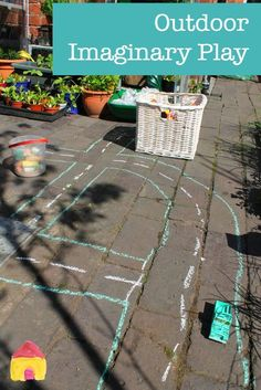 Outdoor imaginary play using chalk