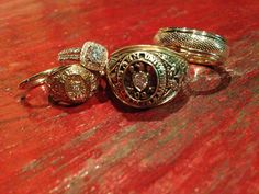 Aggie wedding with gold rings. Rings done by David Gardner's.
