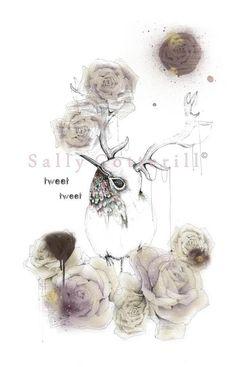 Tweet tweet - antler and roses bird  illustration by Sally Cotterill