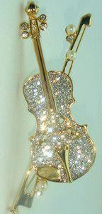 Violin Pin Music Teacher Brooch Pearl Swarovski Rhinestone Austrian Crystal
