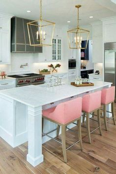 Pink barstools, pink in the kitchen