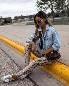 fashion blogger mia mia mine wearing snakeskin leggings from revolve and a denim jacket with louis vuitton multi pochette accessories. #gymstyle #workoutoutfit #athleisure Denim Jacket Fashion, Cropped Denim Jacket, Miami, Athleisure Outfits, Gym Style, Instagram Outfits, All Black Outfit, Faux Leather Skirt, Distressed Denim