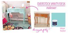 Overstock Vanity/Desk Makeover via Honey & Fitz #overstock #kidsroom #paintingfurniture