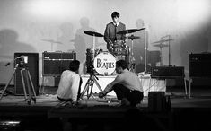 Ringo with his Ludwig drum kit, and film crew