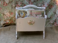 Shabby Chic Pink Magazine Rack Double Compartment  by Fannypippin,