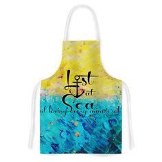 KESS InHouse Ebi Emporium 'Lost at Sea' Yellow Blue Artistic Apron, 31 by Multicolor * Check this awesome image : Bakeware Stove Top Oven, Kitchen Sink Accessories, Cook Up A Storm, Prep Kitchen, Household Chores, Bakeware, Kitchen Towels, Apron, Sea