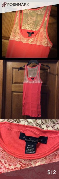 NWOT Lace Top AEO Tank Super cute lace top tank! Never worn. American Eagle Outfitters Tops Tank Tops