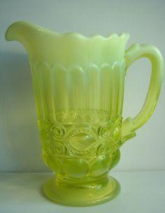 Genuine Vaseline Glass Pitcher