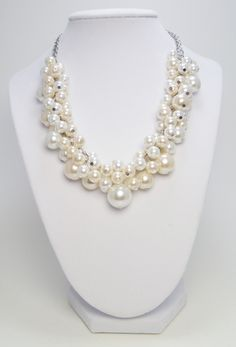 Chunky Pearl Necklace - White and off white/ivory cluster of pearls bridal, wedding, bridesmaids beaded jewelry necklace - Milky Way -. $25.00, via Etsy.