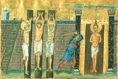 Holy Martyrs Claudius, Asterius, Neones, and Theonilla of Aegae (Cilicia, AD 285) were siblings. After their father's death, the stepmother didn't want to give them their inheritance, so she betrayed them to the persecutors of Christians. After harsh tortures, Saints Claudius, Asterius, and Neones were crucified. Saint Theonilla was hung up by her hair and flogged, and burning coals were placed on her chest. Her body was cast into the sea. (Oct 29)