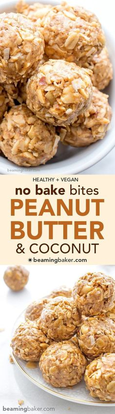 No Bake Peanut Butter Coconut Bites: delicious easy to make. No Bake Peanut Butter Coconut Bites: delicious easy to make energy-boosting and super-filling. Made of just 6 simple ingredients vegan gluten free and healthy.COM Christmas Gifts Vegan Snacks, Vegan Desserts, Vegan Recipes, Snack Recipes, Dessert Recipes, Cooking Recipes, Italian Desserts, Peanut Snacks, Diet Snacks