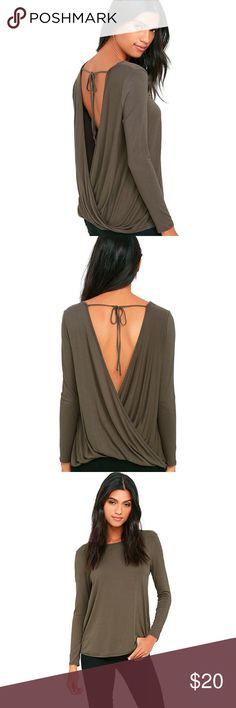 Lulu's Backless Drape Top Olive green open back twist drape top. Lulu's Tops