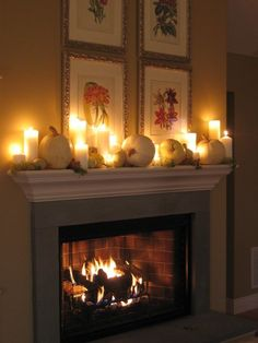 White Pumpkin and Candle Mantel