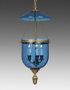 Bell Jar Lantern Adorned With Decorated Finial And Cobalt Glass LL-94D