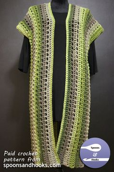 Cap-sleeved long cardigan: a paid crochet pattern from spoonsandhooks.com.