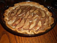 Glazed Apple Cream Pie ~    This pie was really good and different.  It was creamy, full of spices, and the apples on top only added to the flavor.  This would be a great pie for a fall harvest party or for Thanksgiving.    Recipe @:  http://www.hezzi-dsbooksandcooks.blogspot.com/2012/09/glazed-apple-cream-pie.html