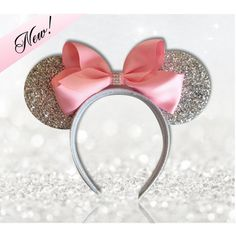 Pink Princess Minnie Mouse Ears Headband, With Super Sparkly Silver... ($16) ❤ liked on Polyvore featuring accessories, hair accessories, silver hair accessories, head wrap hair accessories, pink headband, sparkly headbands and hair band headband