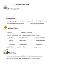Student Led Conference Goal SheetEasy way for students to communicate their learning goals and progress to parents.  Easily modified to meet your...