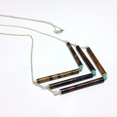 Turquoise, Sterling Silver, and Wood Chevron Tribal Necklace ($45)