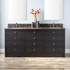 "72"" Thornwood Double Vanity for Rectangular Undermount Sinks - Antique Black"