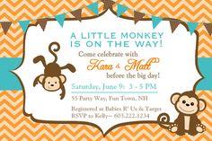 baby shower invitatios for boys oran ge   Baby Shower Invitation Monkey Chevron Teal Orange Brown - Monkey Baby ...