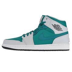 Nike Air Jordan 1 Mid Mens 554724-306 Lush Teal Pure Platinum Shoes Size 11.5