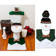 Christmas Decorations Snowman Toilet Seat Cover Rug Bathroom Set