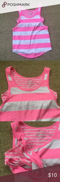 SO Neon Pink/White Striped Workout Tank S Gently to well worn condition. Shelf bra. Minor piling all over from normal wear/wash. No known tears or stains. 😺🐶 Comes from a smoke-free, but not pet-free home. 🚫 No trades. No holds. 📦 Fast shipping! 🙋🏻 Considering all reasonable offers! SO Tops Tank Tops