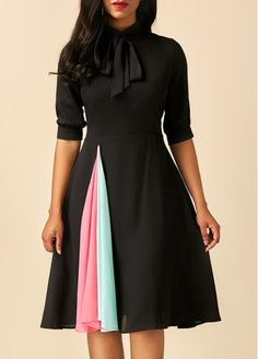 Patchwork Tie Neck Half Sleeve Black Dress