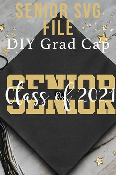 Use this Split Senior SVG file from Everyday Party Magazine to make a custom graduation cap, shirt, or tote bag. #Graduation #ClassOf #Senior #GradCap #DIY
