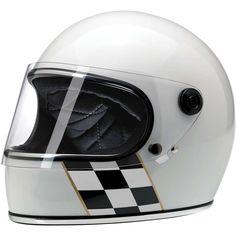 BILTWELL Gringo-S Checker Stripe white with visor & DOT: retro full face helmet in classy racing look - buy now at 24Helmets!