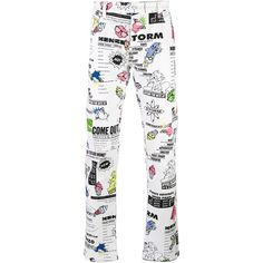 Kenzo animated print trousers ($106) ❤ liked on Polyvore featuring men's fashion, men's clothing, men's pants, men's casual pants, white, mens patterned pants, mens floral print pants, mens white pants and mens elastic waistband pants