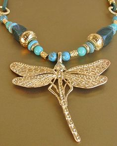 Pre Columbian Jewelry - Gold Dragonfly & Turquoise Semi Precious Stone - Necklaces