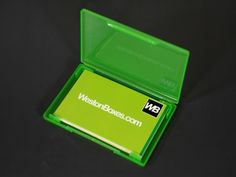 Green plastic business card wallet from WestonBoxes.com