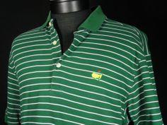 MASTERS COLLECTION Men's Short Sleeve Polo Shirt sz M Medium Green/White Striped #Shopping #EndingSoon #Blackfriday http://r.ebay.com/wx3imP