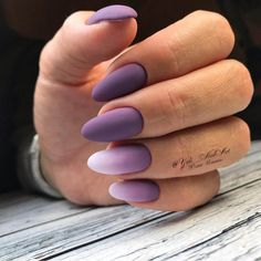 Almond-shaped nails, Beautiful nails 2018, Beautiful purple nails, Bright fall nails, Fall matte nails, Fashion nails 2018, Ideas of gradient nails, Matte nails