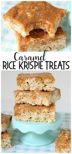 Caramel Rice Krispie Treats are soft, chewy marshmallow squares topped with smoo. - Caramel Rice Krispie Treats are soft, chewy marshmallow squares topped with smooth, rich caramel fo - Carré Rice Krispies, Rice Krispie Bars, Reis Krispies, Rice Krispy Treats Recipe, Rice Crispy Treats, Recipes Using Rice Krispies, Rice Krispie Treats Variations, Cereal Treats, No Bake Treats