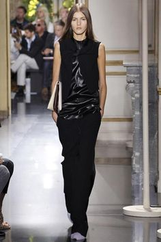 the purple fur slipper, the leather and satin twist detail on top, all black but not at all boring..Celine