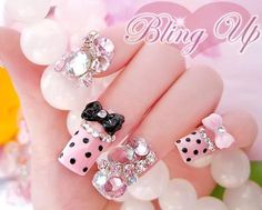 Art Japanese Nail Art Pink French Nail Tips with Dots, Bow Ribbons and Large Rhinestones. I saw a lot of these for sale in japan, so outrageous I couldnt help but love them! Rosa Bling, Pink Bling, Bling Nails, 3d Nails, Cute Nails, Pretty Nails, 3d Nail Designs, French Nail Designs, Nails Design